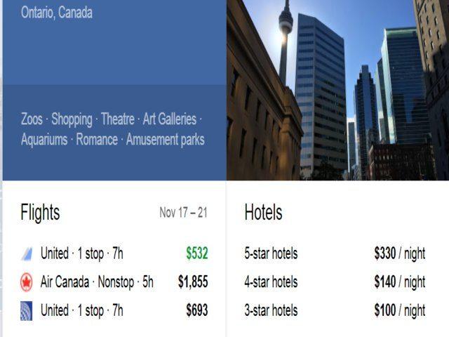 google flight to canada toronto
