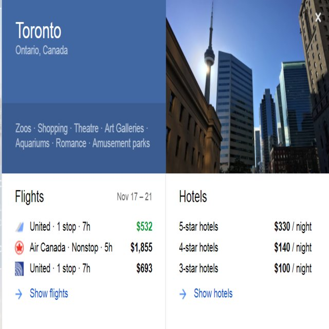google flight to canada toronto